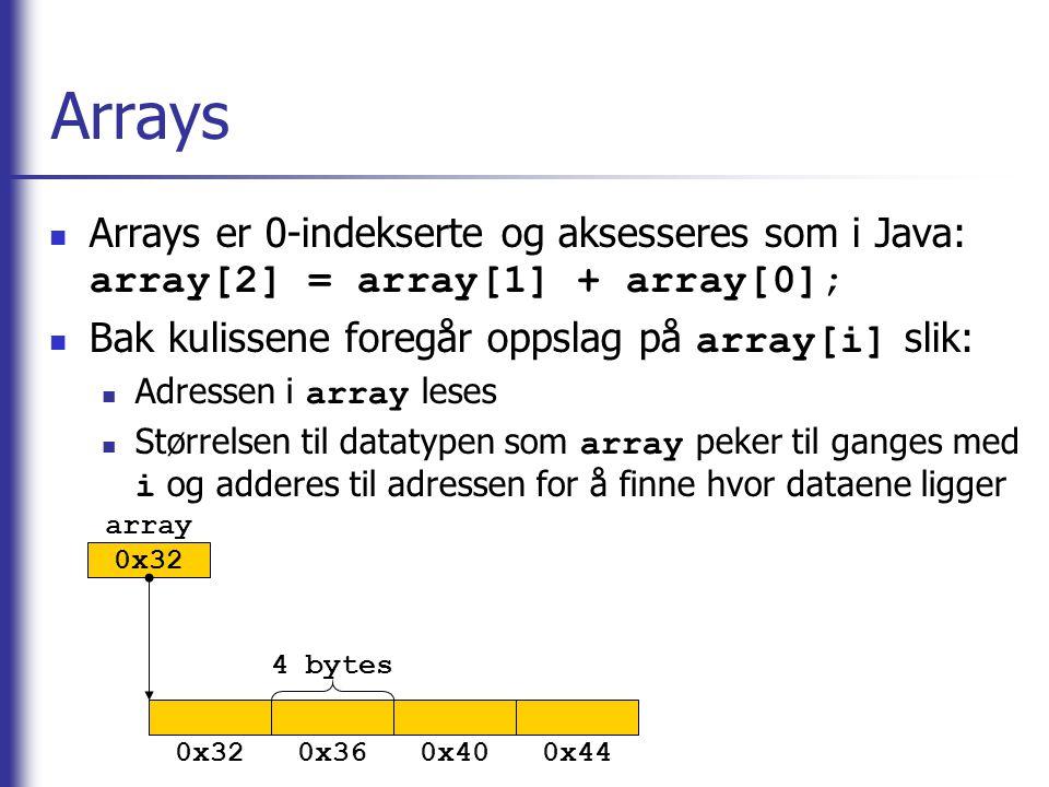 Arrays Arrays er 0-indekserte og aksesseres som i Java: array[2] = array[1] + array[0]; Bak kulissene foregår oppslag på array[i] slik: